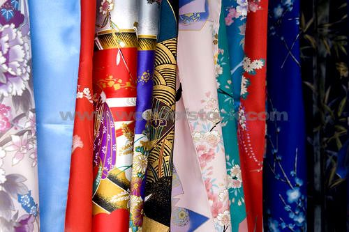 Silk Fabric Patterns Of A Row Of Japanese Kimonos For Sale In Tokyo, Japan.