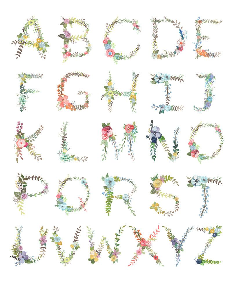 Floral Alphabet Print   Floral, Etsy and Printing