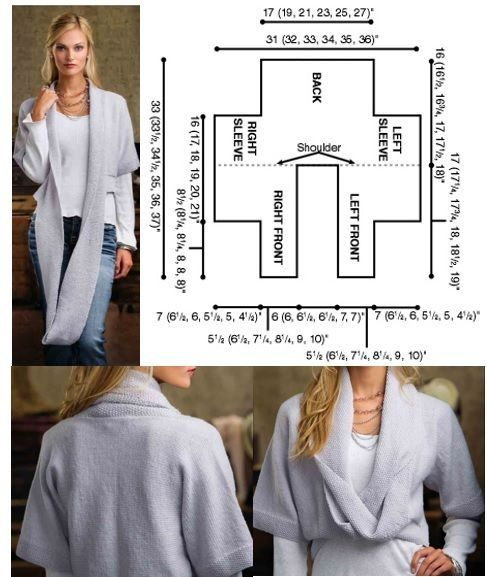 I think this is a knitting pattern, but it's a great template for knit fabric (except I'd make the sweater itself longer)