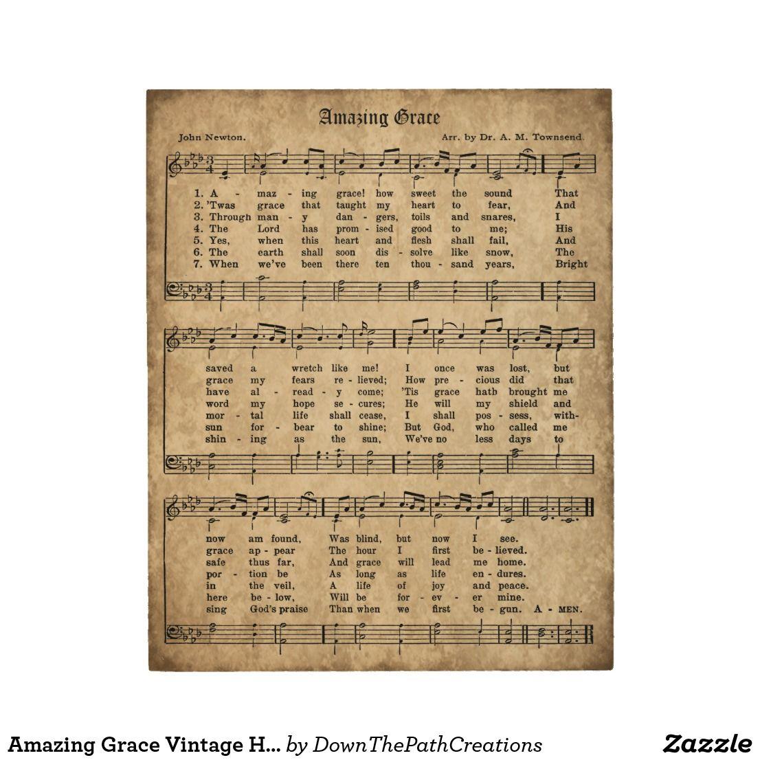 Amazing Grace Vintage Hymn Sheet Music Wood Sign