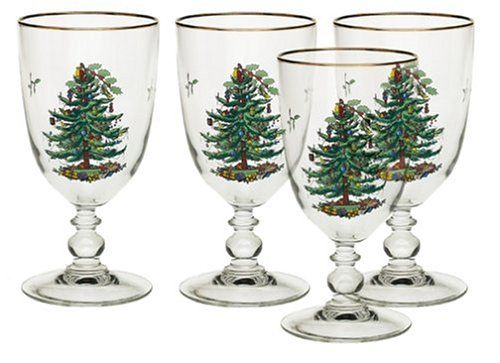 Spode Christmas Tree 16-Ounce Pedestal Goblets with Gold Rims, Set