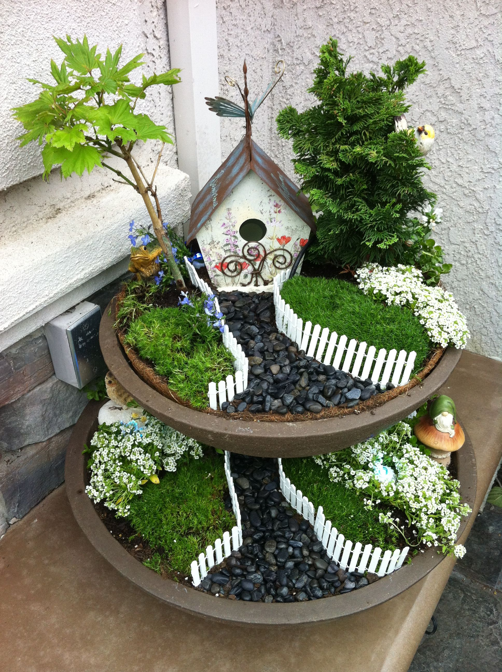 Two tier using plant saucers miniature garden ideas Fairy garden plants