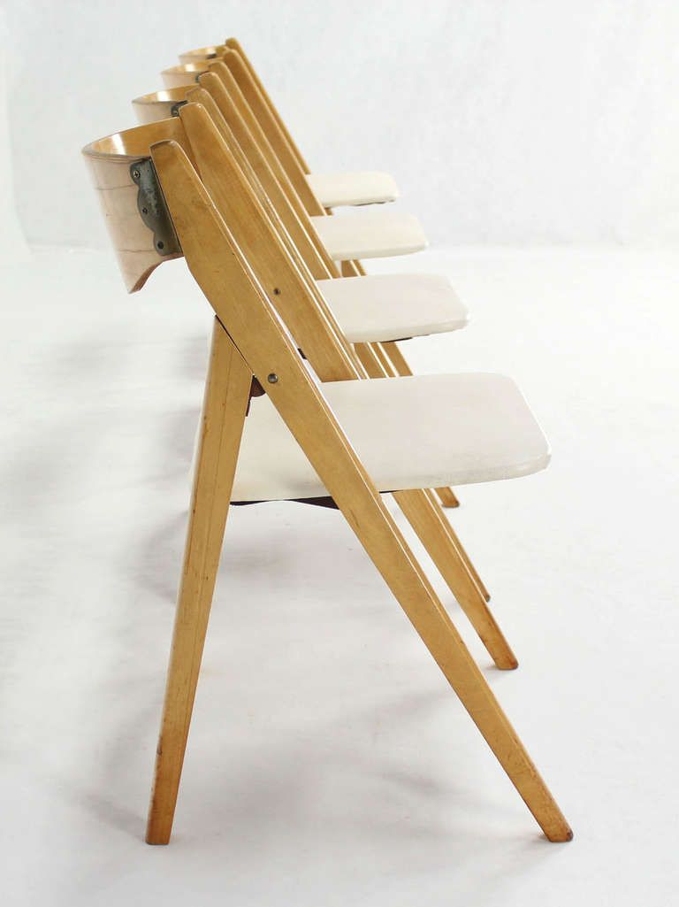 Set Of 4 Folding Compass Style Mid Century Modern Chairs With