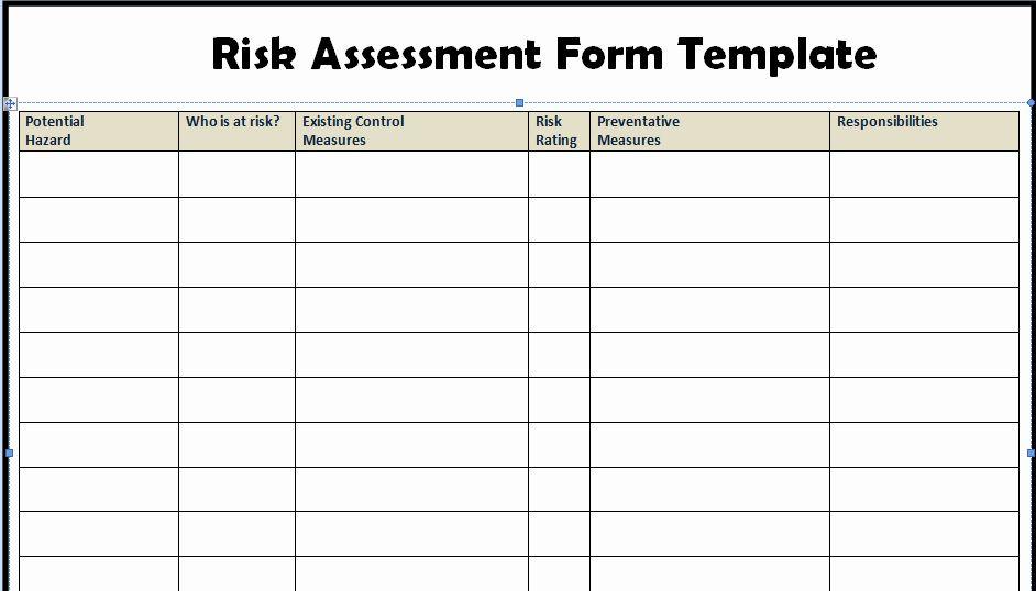 Risk Management Plan Template Doc Awesome Risk Assessment Form