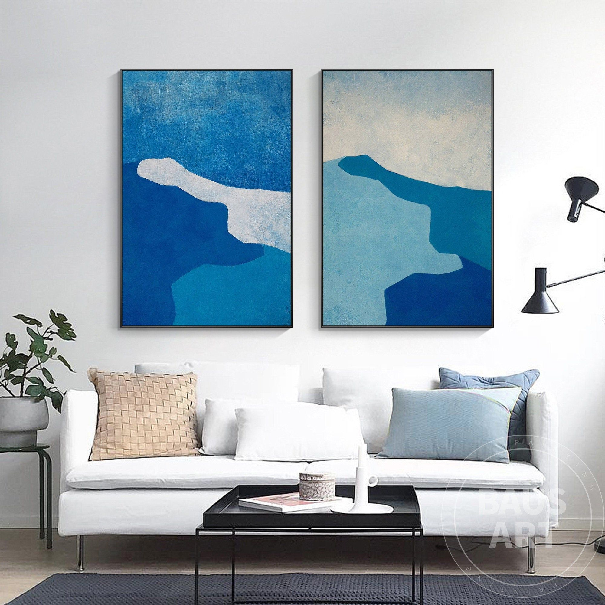 Abstract Double Mountains Painting Framed Wall Art Set Of 2 Etsy In 2021 Frames On Wall Wall Art Sets Large Wall Art