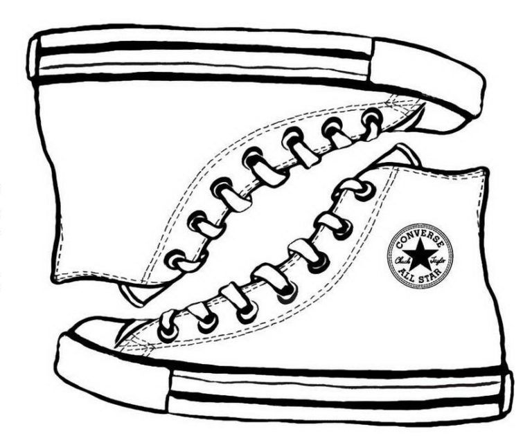 Converse Sketch Drawing Coloring Page Shoes Sneakers Drawing