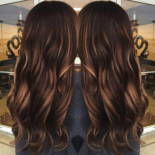 Dark brown hair with caramel babylights best pinterest brown highlights lowlights for dark brown hair camel highlighted curly hairstyle styles weekly pmusecretfo Images