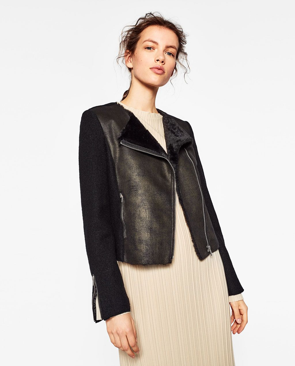 ZARA WOMAN CONTRAST BIKER JACKET Fashion, Zara women