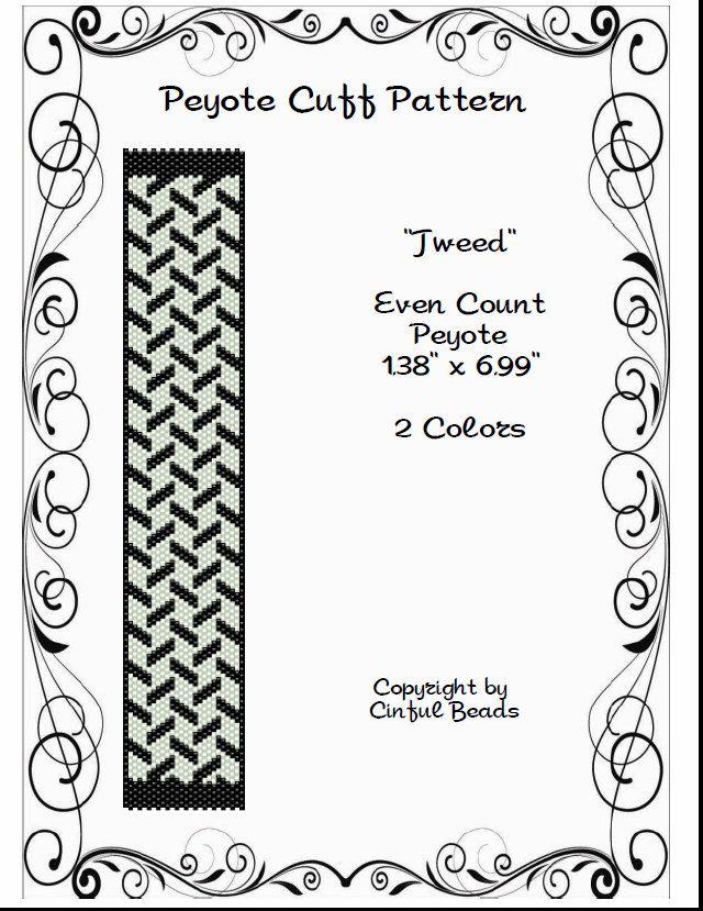 Tweed is a PDF peyote stitch pattern using Miyuki 11/0
