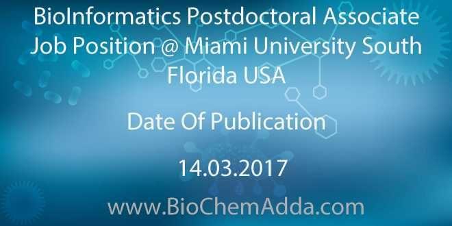 BioInformatics Postdoctoral Associate Job Position @ Miami ...