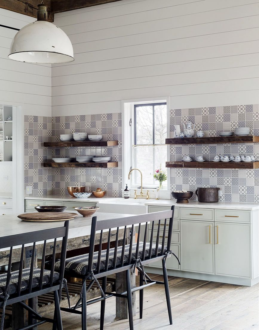 pale mint green cabinets, blue tile and shiplap walls in the kitchen ...