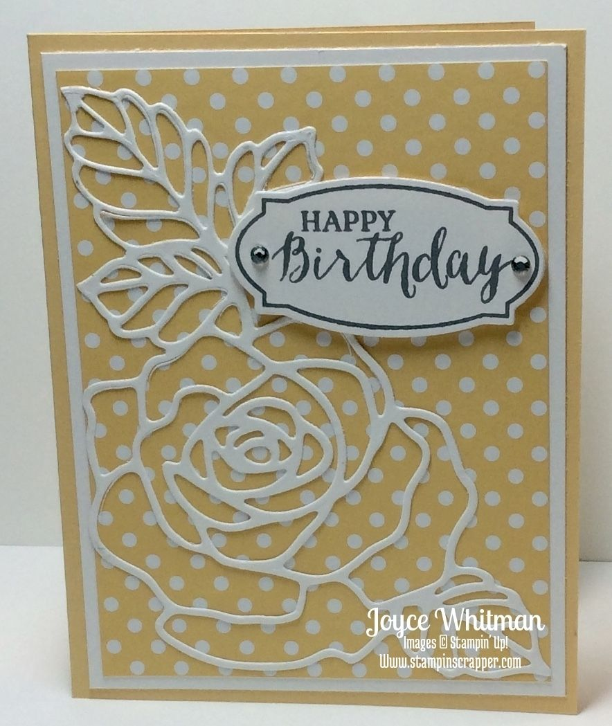Stampin' Up! Rose Garden and Rose Wonder Framelits Birthday Card. Created by Stampin Scrapper.