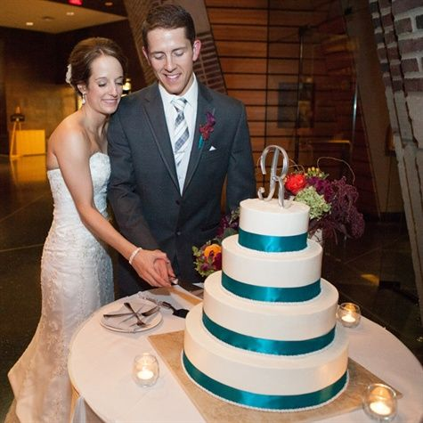 Simple White and Teal Cake | Meg Cooper Photography | TheKnot.com