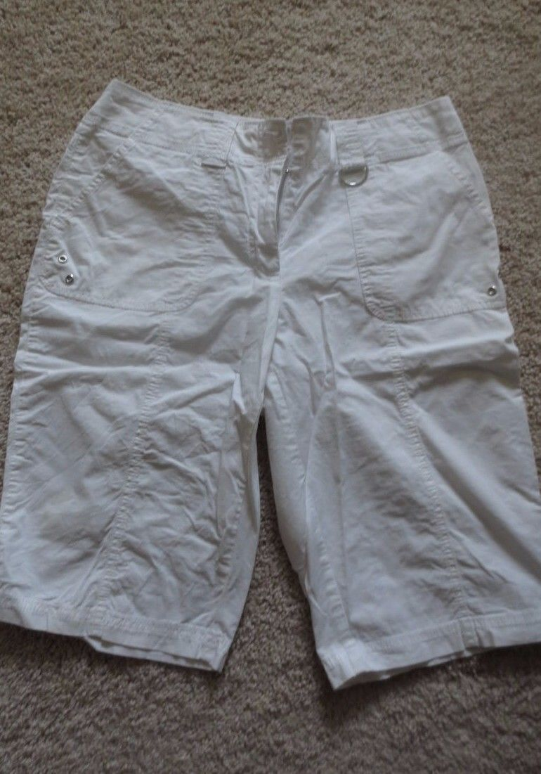 Chico's 5 Cargo Shorts Cotton Off White Cool No Iron | eBay
