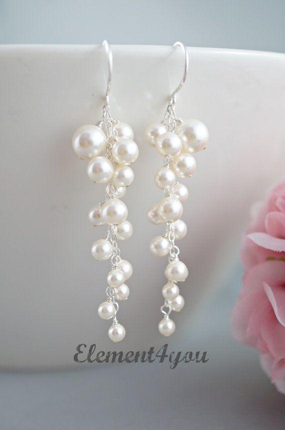 Perle Hochzeit Ohrringe. Braut Ohrringe. von Element4you auf Etsy ...