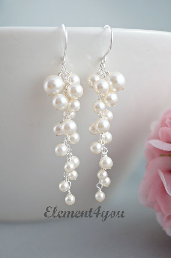 Pearl Wedding Earrings. Bridal Earrings. Statement Earrings. Ivory ...