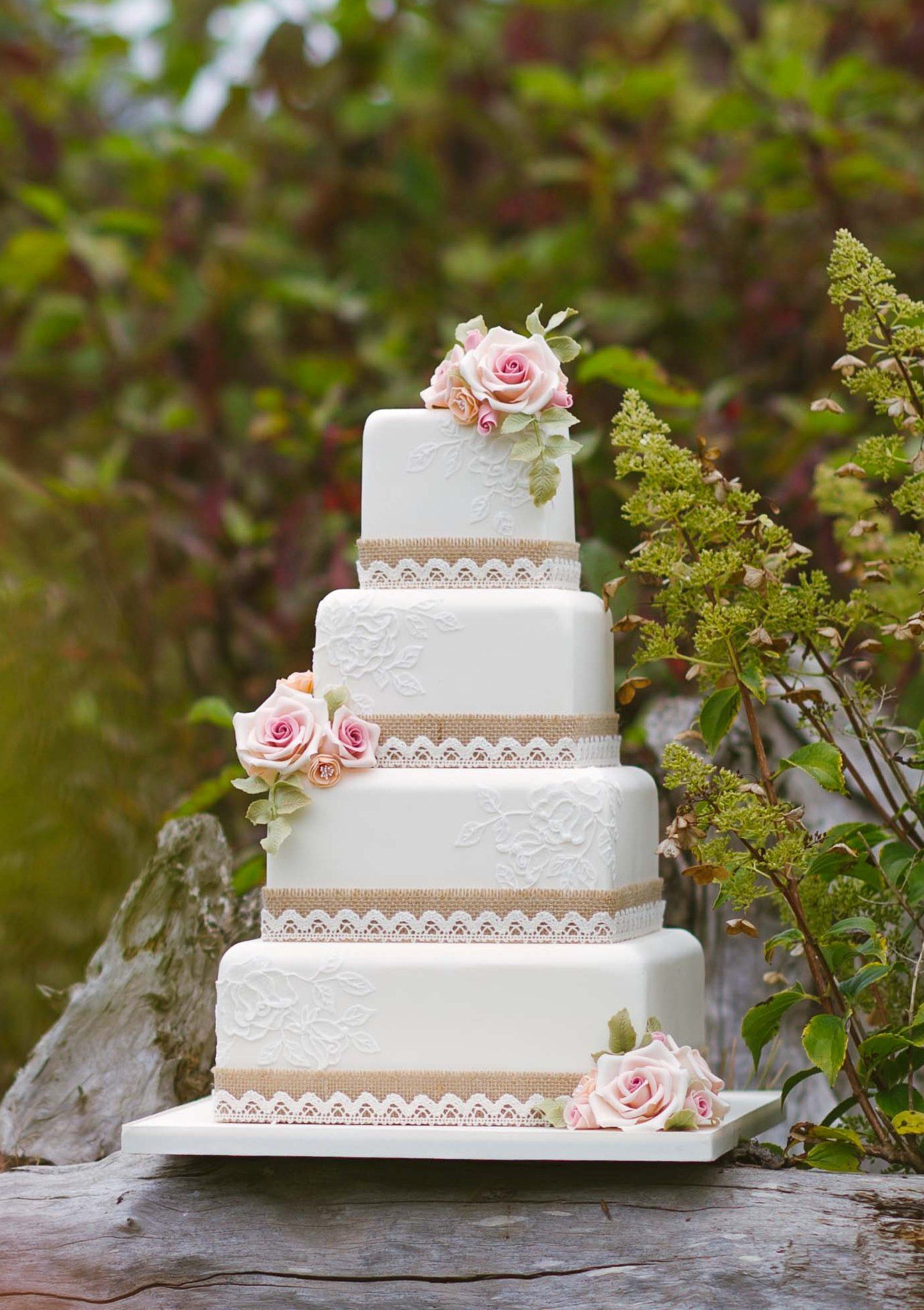 Hessian And Lace Rustic Wedding Cake By Couture NI Photography Des Rowan