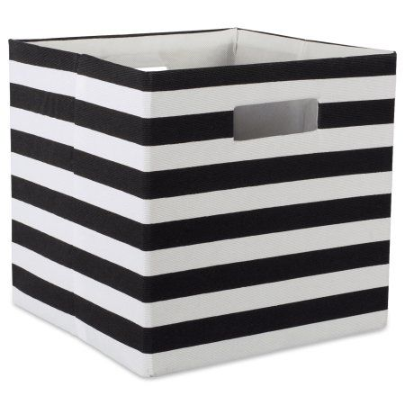 Design Imports Polyester Cube Stripe Black Square 11 X11 X11 100 Polyester Black Cube Storage Storage Bins Fabric Storage
