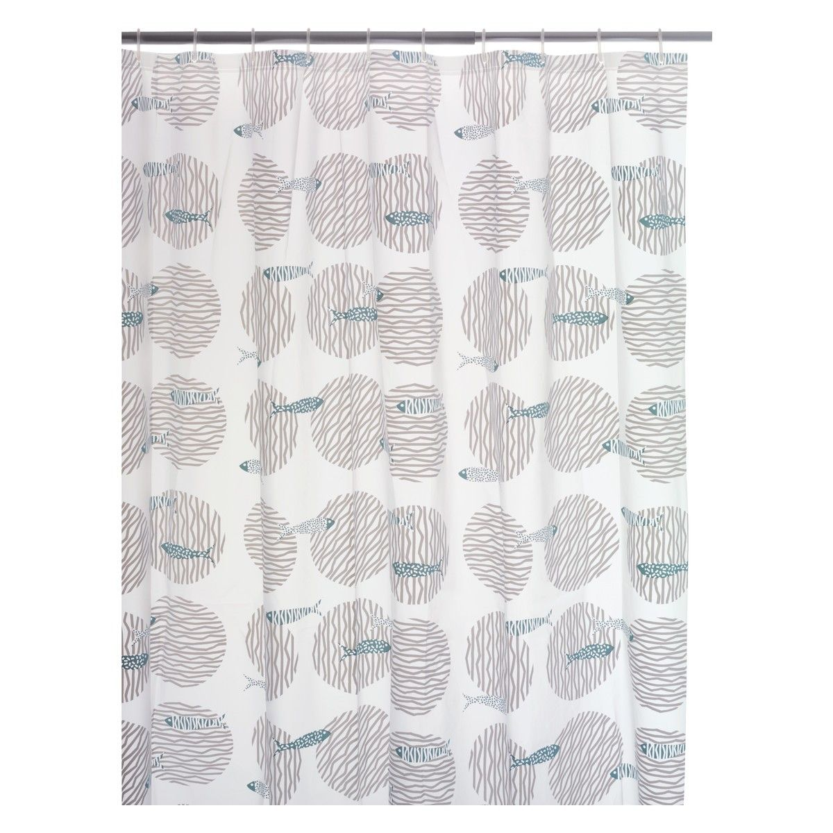FISH Grey and blue patterned shower curtain | Fish and Grey