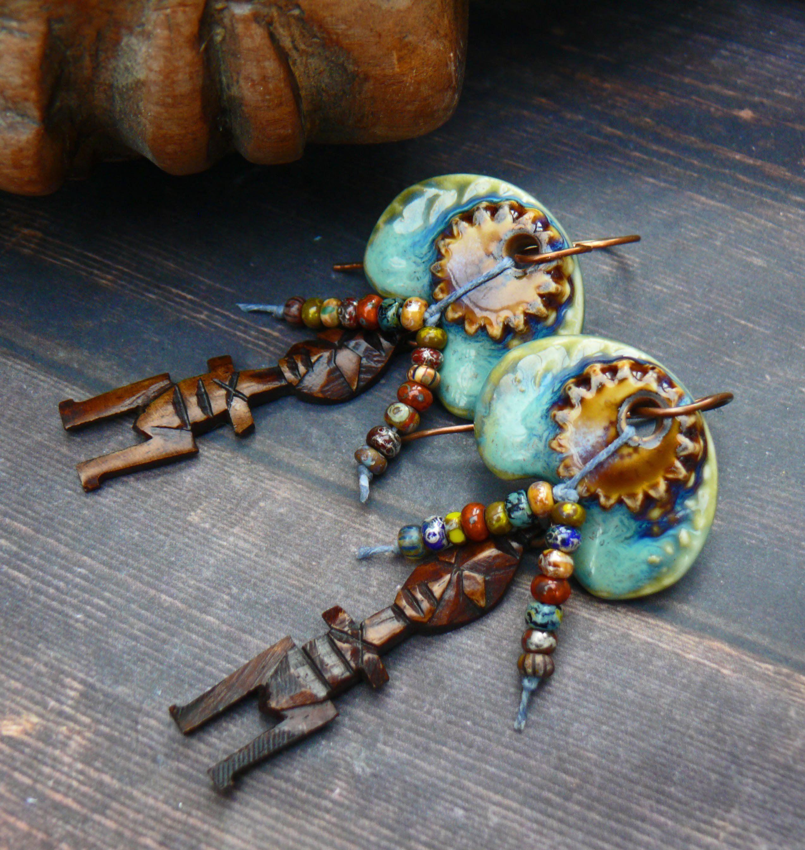 mandinka warrior - copper, ebony and ceramic tribal warrior