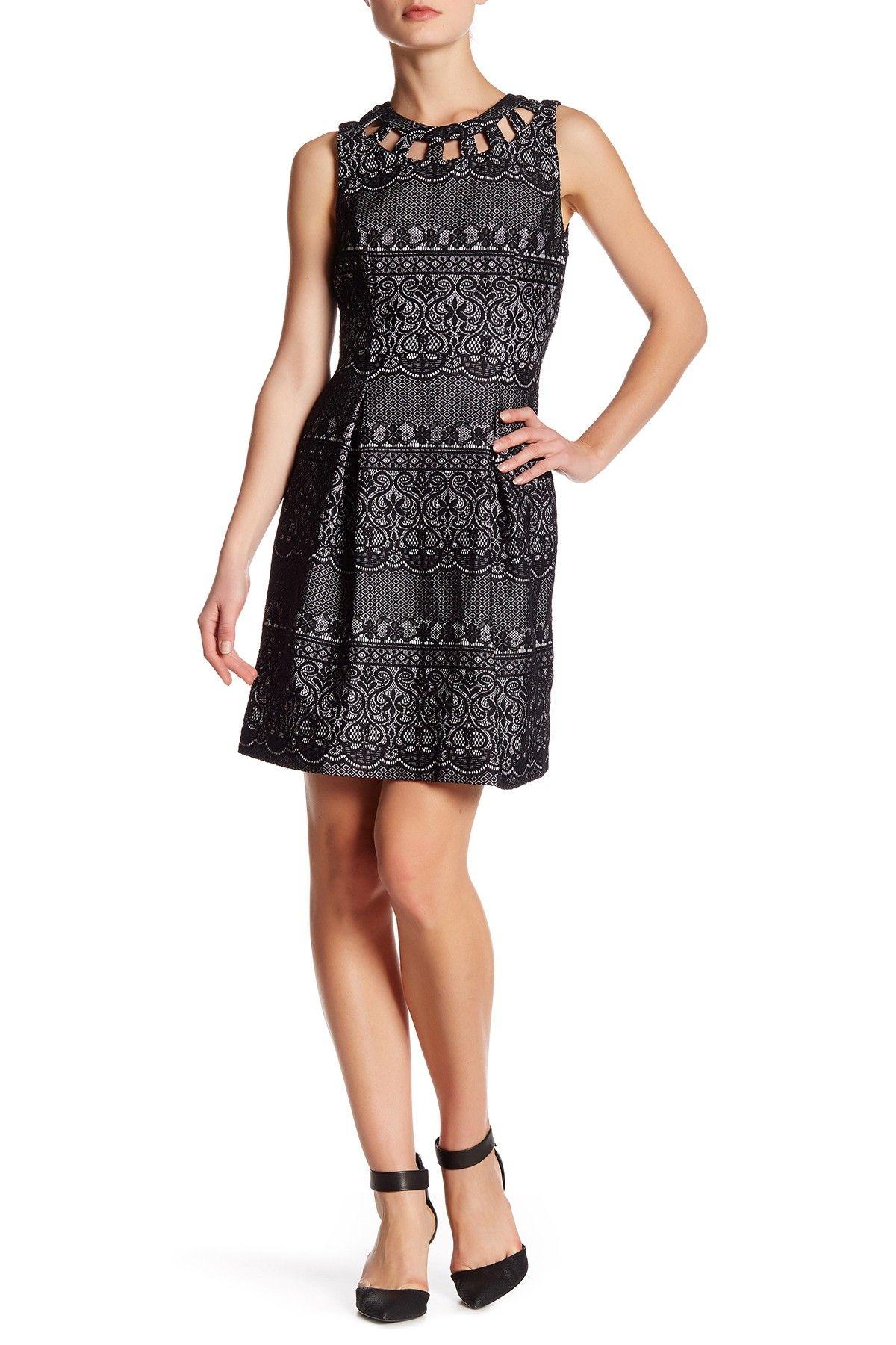 Sleeveless lace cutout dress products