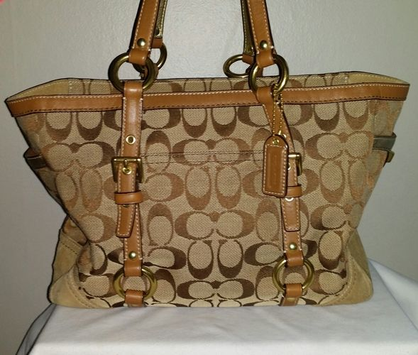 Coach Khaki Signature Gallery Tote w/Turnlock Closure. Starting at $45