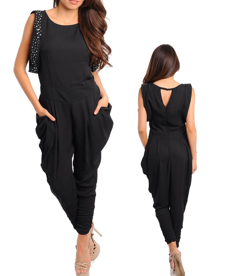 a4c4d8c3d59 Ladies Black Party Cocktail Jumpsuit Playsuit w stones Size 8 S 10 M 12 L  14 XL 16 2XL 18 3XL