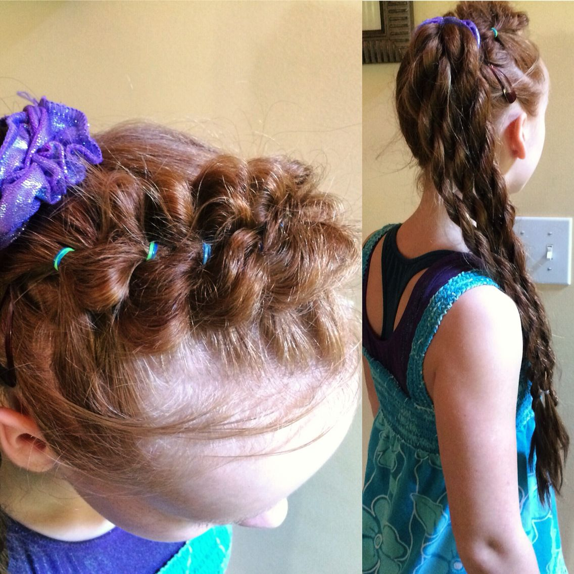 A cute pull through braided headband into a side pony with 4 rope ...