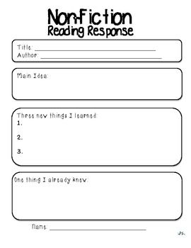 Reading Response Pack Literacy Station Follow Up Reading Response First Grade Reading Reading Response Journals