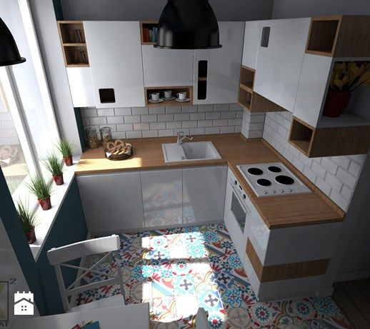 Aranzacje Wnetrz Kuchnia Kuchnia Warszawa Muranow Mala Kuchnia W Ksztalcie Litery L W Aneksie Styl Skandynawsk Kitchen Design Tiny Kitchen Simple Kitchen