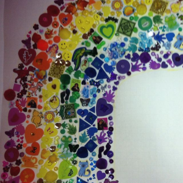 Close up of the rainbow wall mural I made as a decoration for