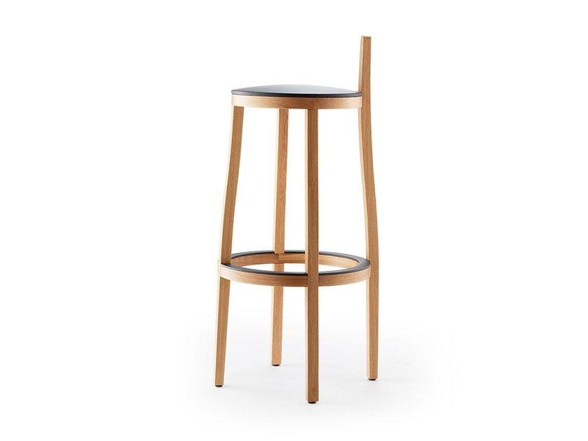 Sgabello alto in legno con poggiapiedi li lith sgabello by