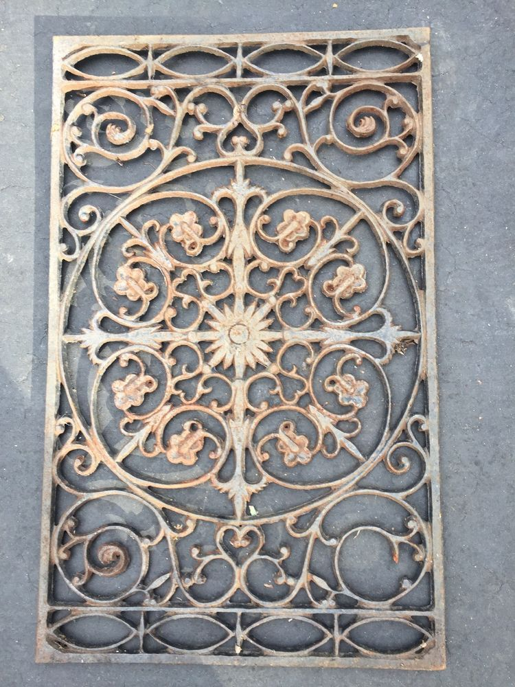 Ornate Metal Heat Grate Antique Vintage Cast Iron