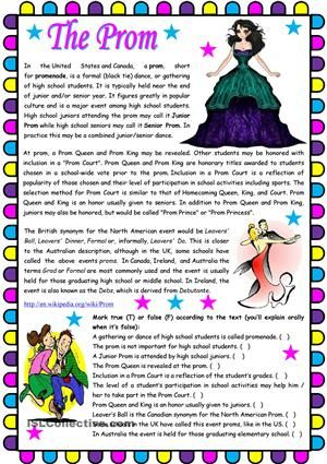 The Prom – text comprehension , writing and grammar (present perfec ...