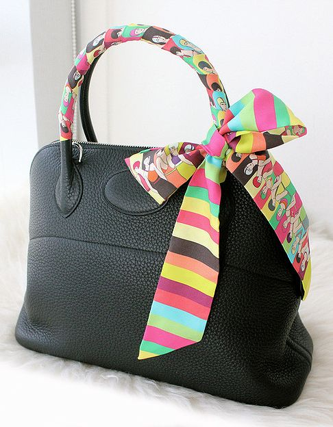 07a4f52c4e7 Black leather Hermes bag and silk Twilly.
