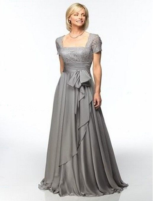 Gray chiffon mother of the Bride dress plus size custom short-sleeved Prom dress | eBay