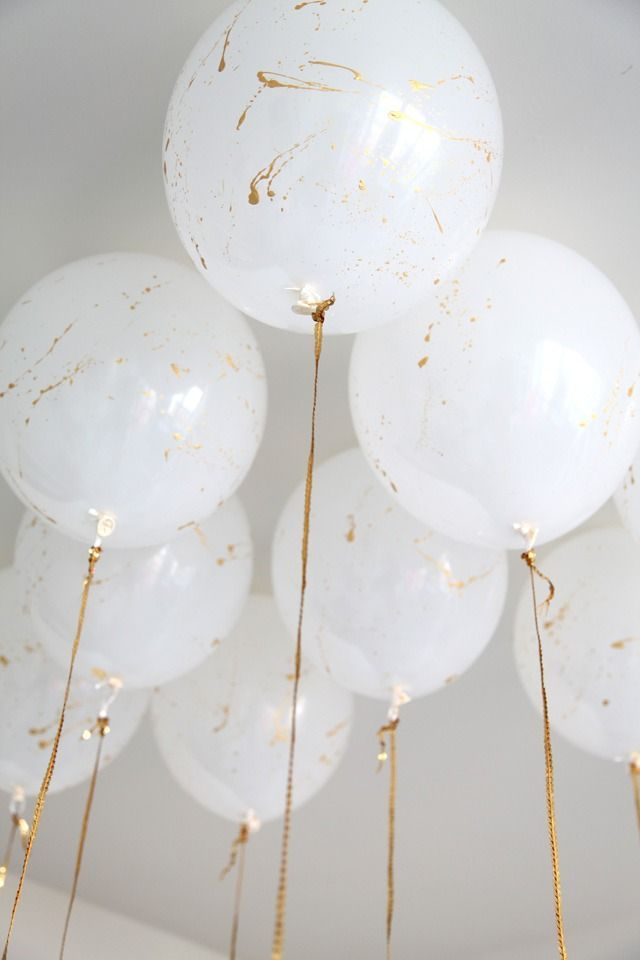 Gold Splattered Balloons With Gold Ribbons