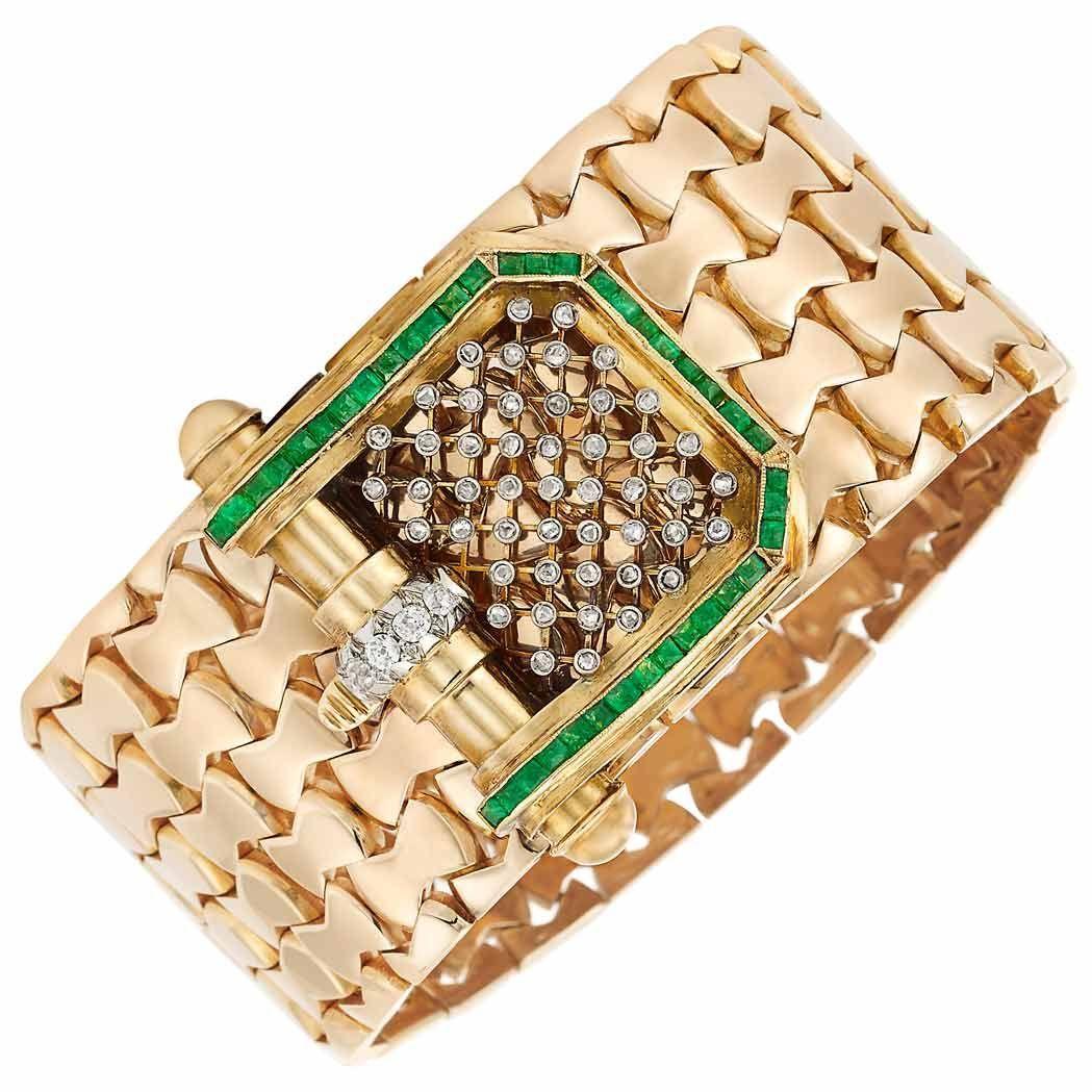 Wide gold emerald and diamond bracelet kt squarecut emeralds