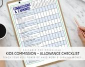 Kids Chores ǀ Kids Allowance & Jobs ǀ Kids Commission Earnings   Etsy