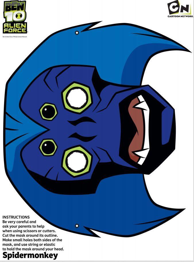 Free Ben 10 - Spider Monkey - Printable face mask #free #printables