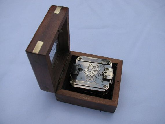 """Manly replica compass in a wooden case, box. Great for engraving a quote, gps coordinates, wish.  Great for a son leaving for boot camp or for a daughter going over seas.  To your friend who is moving away, or a child leaving home.  To your new husband as a wedding gift. """"Let our adventures begin now"""" great idea for a desk top weight as well."""