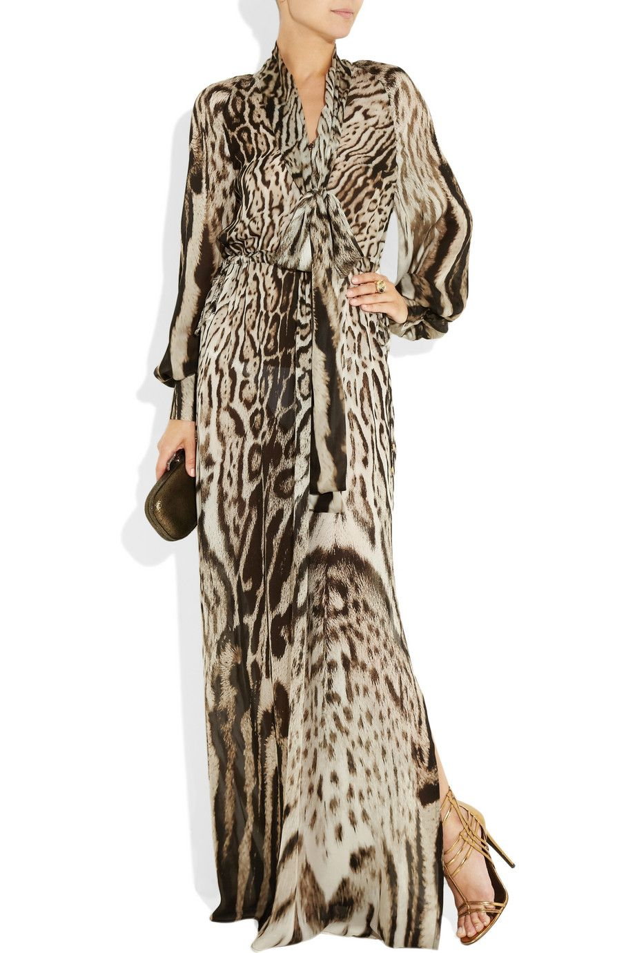 13051f68abf14 Roberto Cavalli animal print silk-chiffon gown | fashion | Fashion ...