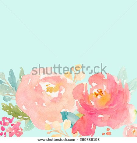 Watercolor Peony Background With Flowers And Leaves Mint Green