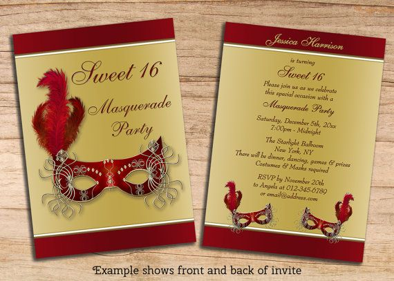 Printable sweet 16 masquerade party invites double sided gold red printable sweet 16 masquerade party invites double sided gold red custom jpeg personalized invitations templates stopboris Image collections