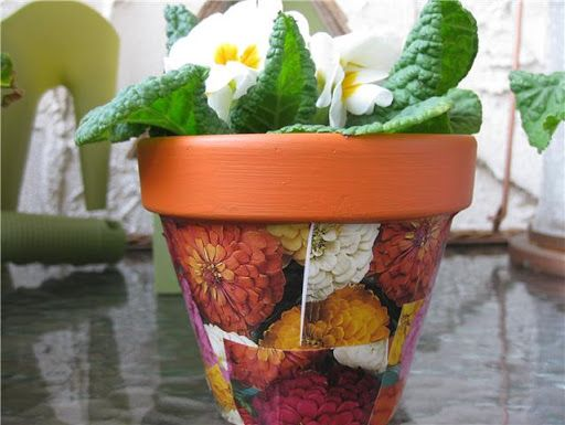 Decoupage A Flowerpot With Mod Podge And Tissue Paper Tu B Shevat