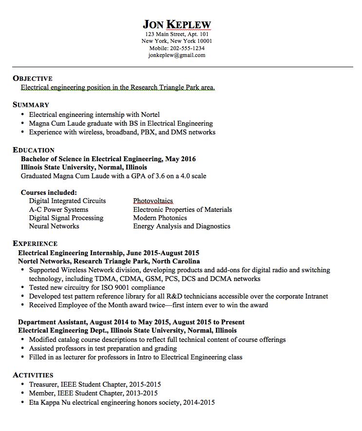 Electrical Engineering Resume Sample Resume Electrical Engineering  Httpexampleresumecv