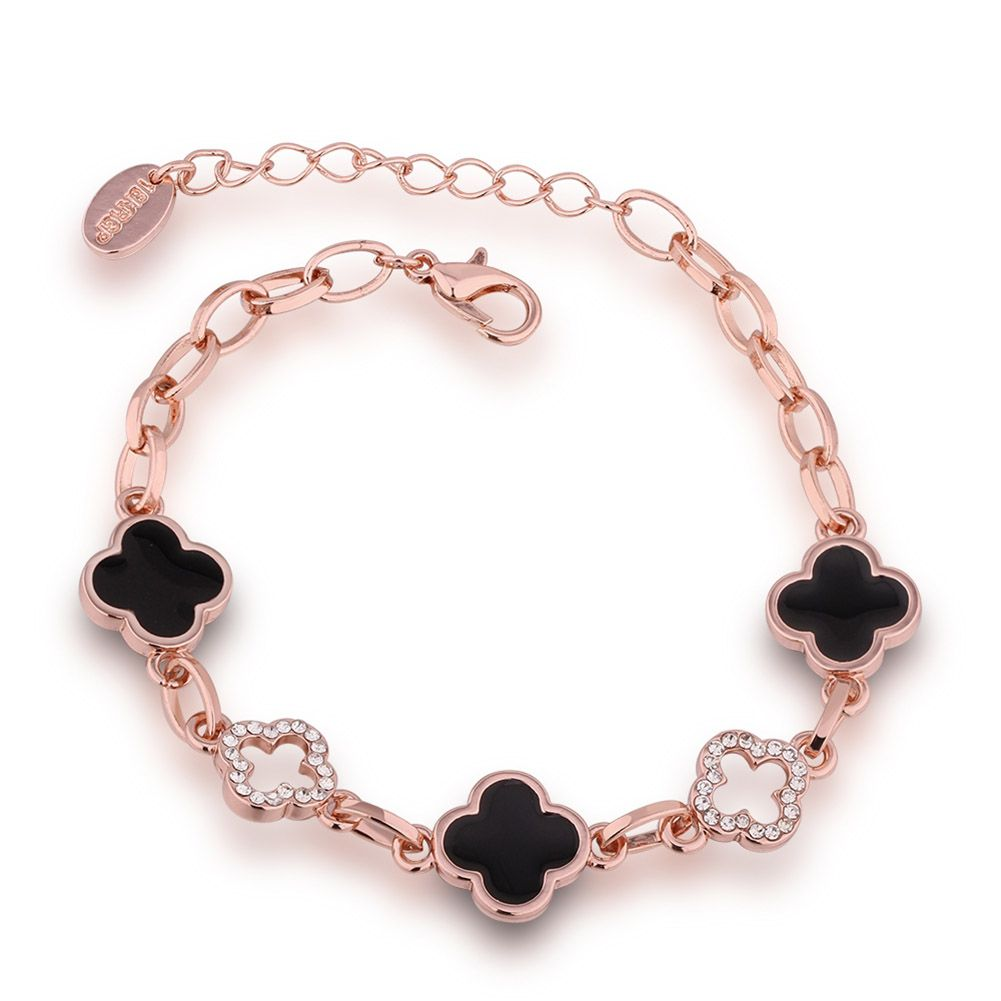 Rose gold color chain charm bracelets oil drip zircon daisy bangles
