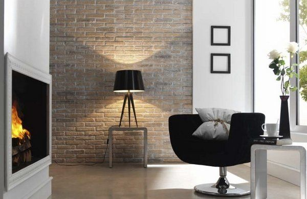 contemporary living room fireplace modern furniture accent wall faux brick walls ideas - Interior Faux Brick Wall Ideas