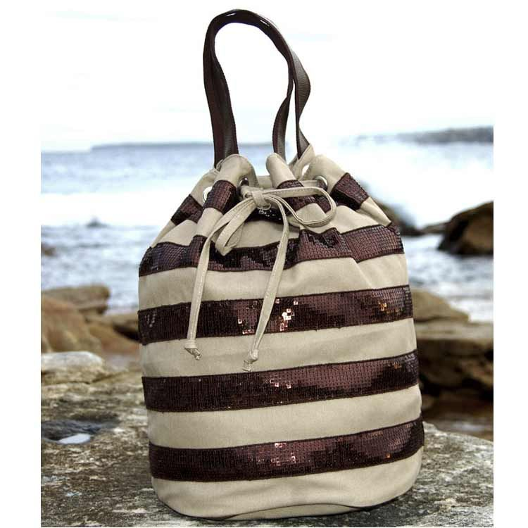 Canvas Drawstring Backpack - Taupe/Chocolate | Delightful bags ...