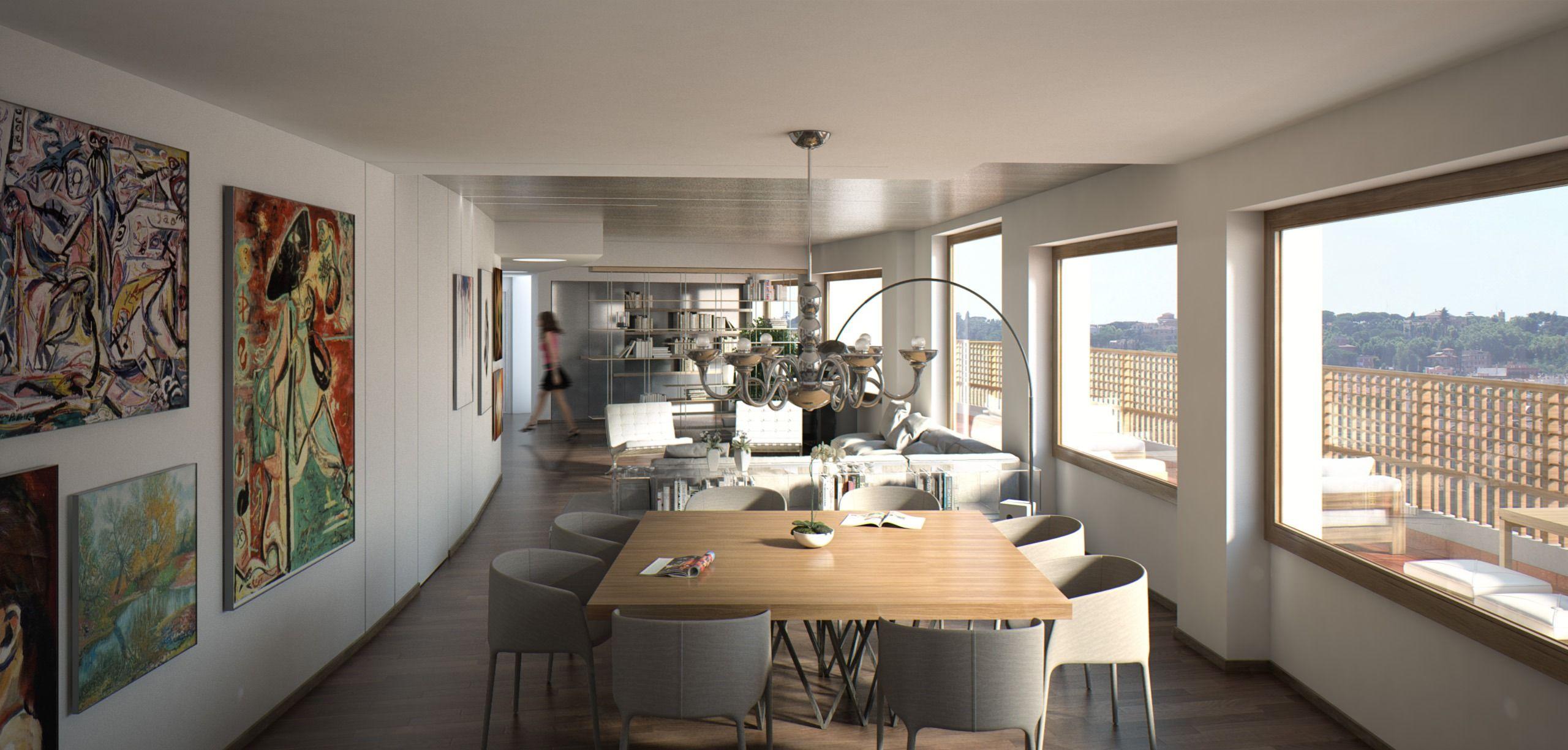 Render di una sala da pranzo con cucina annessa. Rener of a modern ...